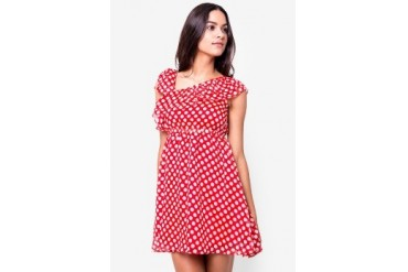Catwalk88 Asymmetric Spanish Polkadot Dress