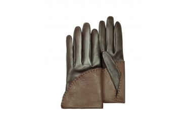 Women's Two-Tone Brown Short Nappa Gloves w/ Silk Lining
