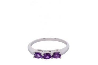 Genuine Amethyst Gemstone Silver Ring