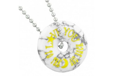 Love You to the Moon Back Amulet Charm Donut Howlite 22 Inch Necklace