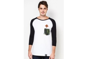 NEVER GROW OLD Raglan Tee Shirt with Pocket