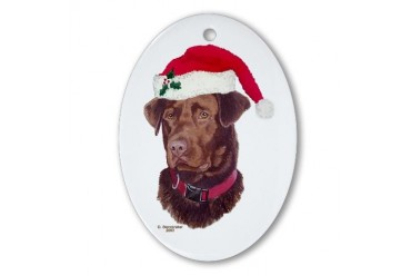 Chocolate Lab Christmas Pets Oval Ornament by CafePress