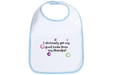 I get my good looks from my grandpa baby New baby Bib by CafePress