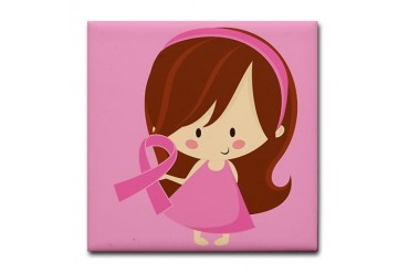 Breast Cancer Pink Ribbon Tree Gift Breast cancer Tile Coaster by CafePress