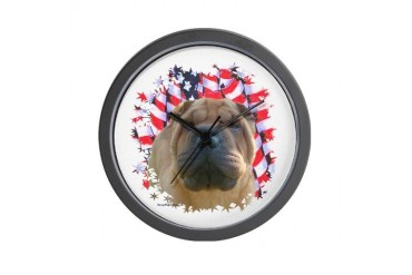 Shar-Pei 2 Pets Wall Clock by CafePress