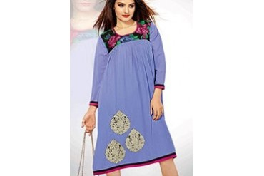 Violet Embroidered Georgette Kurti