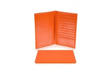 Classica Collection - Orange Calfskin Vertical Card Holder Wallet