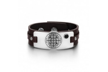 Fortune Wealth Success Circle Black Onyx Brown Leather Bracelet