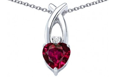 Star K 8mm Heart Shape Created Ruby Cross Heart Pendant