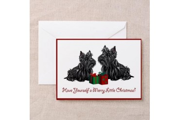 Scottie Christmas Pets Greeting Cards Pk of 10 by CafePress