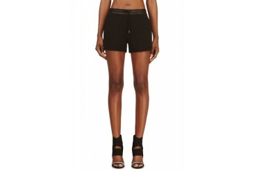 T By Alexander Wang Black Cotton And Leather Shorts