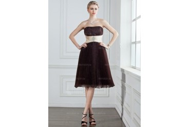 Empire Strapless Knee-Length Organza Charmeuse Bridesmaid Dress With Sash Beading Pleated (007000946)