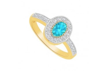 Created Blue Topaz CZ Oval Shaped Ring in Yellow Gold Vermeil