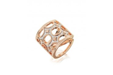 Seventies - 18 KT Rose Gold Over Bronze Ring with Glitter