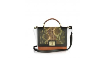 Snake-Embossed Genuine Leather iPad Bag