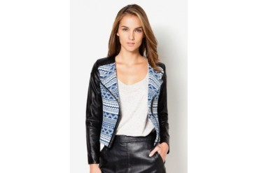 EZRA by ZALORA Collarless Jacquard & PU Jacket