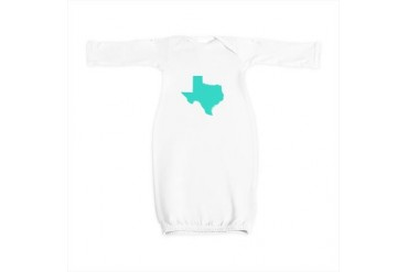 Texas Outline Turquoise Texas Baby Gown by CafePress