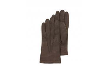 Dark Brown Deerskin Leather Men's Gloves w/Cashmere Lining