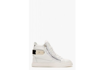 Giuseppe Zanotti White Leather Metal trimmed London Sneakers