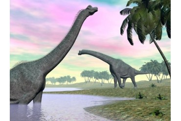 Two Brachiosaurus dinosaurs in landscape with water and palm trees.