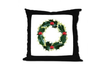 Holly Wreath Christmas Suede Pillow by CafePress