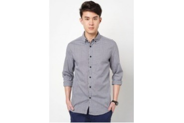 Long Sleeve Check Shirt With Front Piping