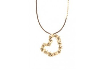 Gold Heart With Crystals Necklace