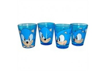 Sega Sonic the Hedgehog Four Heads Blue Shot Glass Set