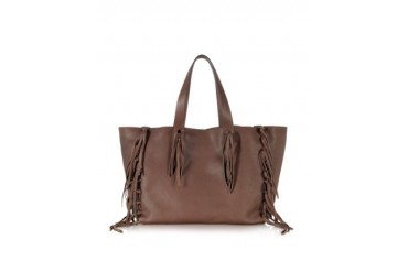 Large Chocolate Leather Fringed Tote