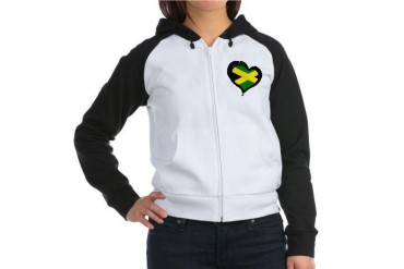 Jamaica One Heart Love Women's Raglan Hoodie by CafePress