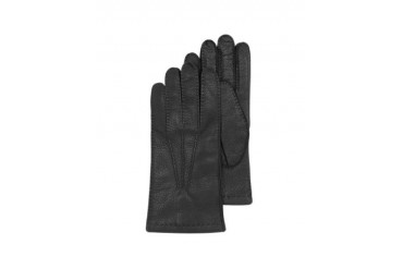 Black Deerskin Leather Men's Gloves w/Cashmere Lining