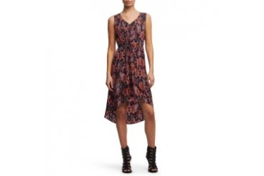 Printed High-Low Hem Dress