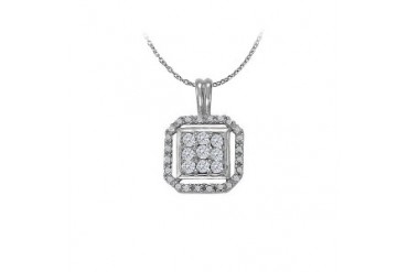 Cubic Zirconia Lovely Square Pendant in 14K White Gold with a Free 16 Inch