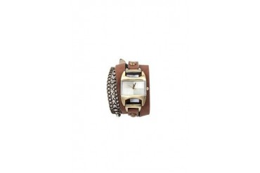 Faux leather chain wrap watch