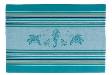 Coastal Sea Life Turtles Seahorses Kitchen Placemats Set of 4 Teal Blue
