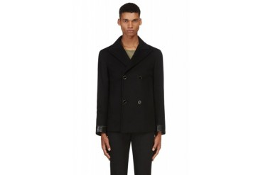 Alexander Mcqueen Black Wool And Leather Peacoat