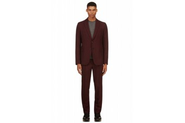 Valentino Maroon Gingham Check Suit