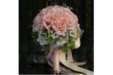 Sweet Round Satin Bridal Bouquets (124032067)