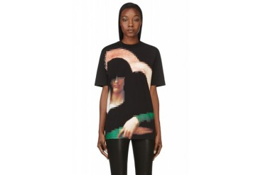 Givenchy Black Pixellated Madonna Print T shirt