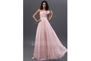 Empire One-Shoulder Floor-Length Chiffon Prom Dress With Ruffle Lace Beading (018022744)