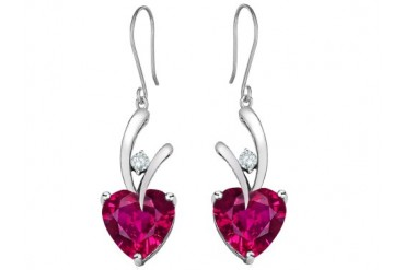 Star K 8mm Heart Shape Created Ruby Hanging Love Earrings