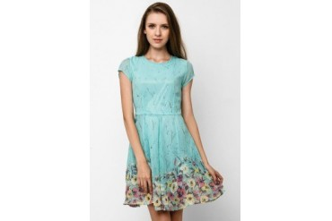 Chic Simple Tie At Back Printed Chiffon Dress
