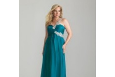 "Night Moves ""In Stock"" Teal Plus Size Dress - Style 6778W"