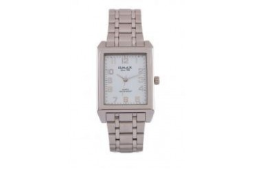 Omax AS0067S/S-White Dial Alloy Silver Strap Watch