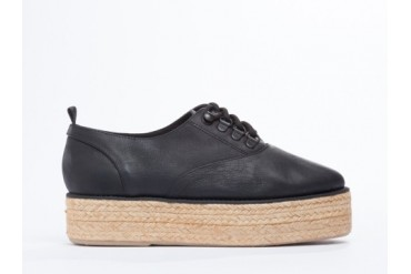 Farewell Jute Sole Derby in Black Leather size 9.0
