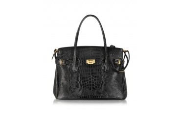 Shiny Black Croco Embossed Leather Tote