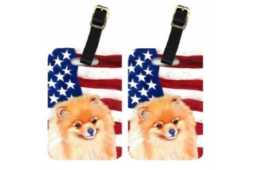Pair of USA American Flag with Pomeranian Luggage Tags