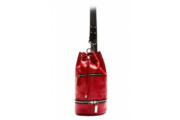 Costume National Red Leather Cross body Mini Bucket Backpack