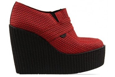 Underground Wedge Loafer in Red Weave Leather size 11.0