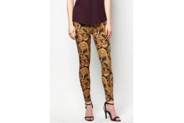 CLUB ZEN Leggings with Leaf and Rose Motif